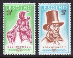 LESOTHO - 1970 MOSHOESHOE ANNIVERSARY SET (2V) FINE MOUNTED MINT MM * SG 180-181 - Lesotho (1966-...)