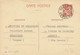 431 CP 1 Entier Iris 80 C. Gérardmer Vosges 7-8-1941 - Enteros Postales