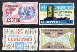 LESOTHO - 1970 UN UNITED NATIONS ANNIVERSARY SET (4V) FINE MOUNTED MINT MM * SG 182-185 - Lesotho (1966-...)