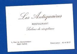 Carte De Restaurant LES ANTIQUAIRES Rue De Montalembert Paris - Visitenkarten