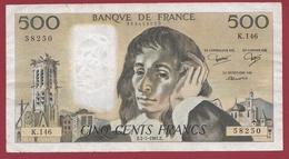 "500 Francs ""Pascal"" Du 02/07/1981.F----F/TTB+-----ALPH K.146 - 1962-1997 ''Francs''"