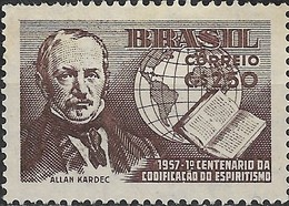 BRAZIL 1957 Centenary Of Spiritualism Code - 2cr50 Allan Kardec, Code And Globe MH - Brasilien