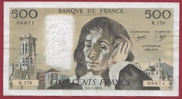 "500 Francs ""Pascal"" Du 06/01/1983.N----VF/SUP-----ALPH K.179 - 1962-1997 ''Francs''"
