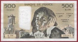 """500 Francs """"Pascal"""" Du 05/01/1984.D----F/TTB+-----ALPH Q.198 - 1962-1997 ''Francs''"""