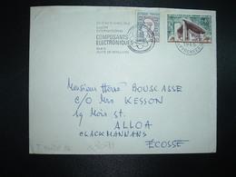 LETTRE Pour ECOSSE TP MARIANNE DE COCTEAU 0,20 + RONCHAMP 0,40 OBL.MEC.1-4 1965 PARIS XX - Marcofilie (Brieven)