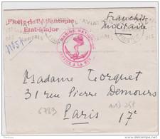 Lettre Franchise Militaire Brest 1939 Flotte De L'atlantique Etat Major Marin Nationale Service à La Mer - Marcophilie (Lettres)
