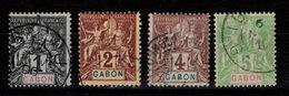Gabon - YV 16 / 17 / 18 / 19 Obliteres Type Groupe Cote 7 Euros - Used Stamps
