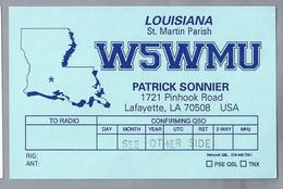 US.- QSL KAART. CARD. W5WMU. PATRICK SONNIER, LAFAYETTE, LOUISIANA, St. MARTIN PARISH. USA. - Radio-amateur