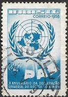 BRAZIL 1958 Tenth Anniversary Of Human Rights Declaration - 2cr50 UN Emblem FU - Brasilien