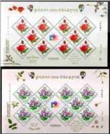 2001 S.Korea - Philakorea 2002 Issue I - Roses Of Korea - 2 Sheetlets - Paper - MNH** MiNr. 2200 - 2201 - Korea (Süd-)