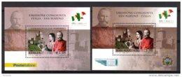 2011 Italy /Italien + San Marino - 150 Years Of The Italian Republic - Garibaldi - Both MS MNH ** - Gemeinschaftsausgaben