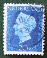 20 Ct Koningin Wilhelmina NVPH 481 (Mi 484) 1947 -1948 Gebruikt / Used NEDERLAND / NIEDERLANDE - Gebraucht