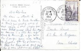 MARNE 51   -   REIMS  ENTREPOT     -  CACHET RECETTE R A8   -  1954   -  CATALOGUE A. LAUTIER - Postmark Collection (Covers)