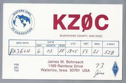 US.- QSL KAART. CARD. KZOC. JAMES W. BOHNSACK, WATERLOO, IOWA. BLACKHAWK COUNTY. U.S.A. - Radio-amateur