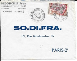 PAS DE CALAIS 62   -  BOULOGNE S/MER    ENTREPOT     -  CACHET RECETTE R A8   -  1954   - TIMBRE N° 970 - TARIF 6 1 49 - Postmark Collection (Covers)