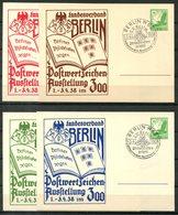 """4904 - DEUTSCHES REICH - Privatganzsachen  """"Postwertzeichen-Ausstellung Im Berliner Zoo 1938"""" - 4 Verschiedene Farben - Deutschland"""