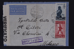 Italy Ethiopia Sa Nr A5 + 11 AOI  Airmail  Front Of Cover MOGGIO ADDIS ABEBA -MILANO 1940 Censore 2x - Aethiopien