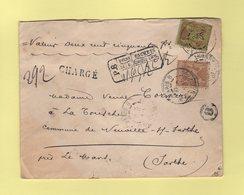 Type Sage - Valeur Declaree - Charge - Paris 8 - 6 Juin 1899 - Descriptif De Chargement Au Recto - Marcophilie (Lettres)