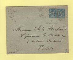 Type Sage - Decoupe D'entier Sur Enveloppe Entier Postal - Poissy - Seine Et Oise - 1896 - Storia Postale