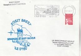 Fosit BREST - Sémaphore De SAINT SAUVEUR - Cachet Flamme L'Ile D'Yeu Vendée 10/11/2003 - Poste Navale