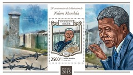 Niger 2015. [nig15104] Nelson Mandela (s\s+block) - Albert Einstein