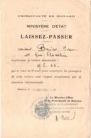 LAISSEZ PASSER 1939 MINISTERE PRINCIPAUTE DE MONACO CACHET MINISTRE D ETAT - Documents Historiques