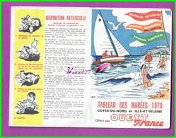 Dépliant Tableau Des Marées De 1970 OUEST FRANCE Cotes Du Bord Et Ille Et Vilaine - Publicité Pour Le Journal - Calendarios