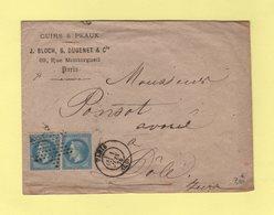 Paris (60) + Etoile Pleine - Double Port Pour Dole Jura - 1 Juin 1870 - Cuirs Et Peaux Rue De Montorgueil - 1849-1876: Periodo Classico
