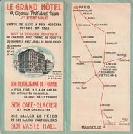 Dépliant Publicitaire LE GRAND HOTEL Et CARAGES REUNIS  à Saint Etienne (Loire) - Pubblicitari