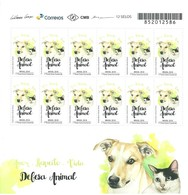 BRAZIL 2018 - 01 Mini Sheet With 12 Stamps - ANIMAL DEFENSE - DEFESA ANIMAL - DOG CAT - New Mint (GN 0371) - Brasilien