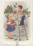 Deux Enfants Cueillent Des Roses, échelle Posée Sur Un Mur. - Scènes & Paysages