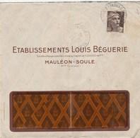 GANDON 3F SEUL SUR LETTRE ENTETE ETS LOUIS BEGUERIE SANDALE BIGA MAULEON-SOULE 20/6/46 - Storia Postale