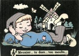 ( MEUNIER TU DORS ) ( MOULIN )( CARTE VELOURS ) ( METIERS )( MENIER ) - Contes, Fables & Légendes