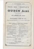 Lisieux 1879: Prix Des Végétaux OUDIN Ainé 12 Pages13x21cm - Publicités