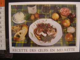 CP Carte Postale Postcard RECETTE CUISINE BOURGOGNE OEUFS EN MEURETTE - Küchenrezepte