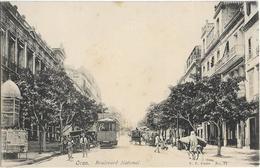 ALGERIE - ORAN-BOULEVARD NATIONAL-Plusieurs Personnes-ânes-Tramway Pub Absinthe Supérieure Rivoire-Kiosque- PRECURSEUR - Oran