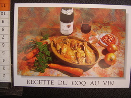 CP Carte Postale Postcard RECETTE CUISINE BOURGOGNE COQ AU VIN - Küchenrezepte
