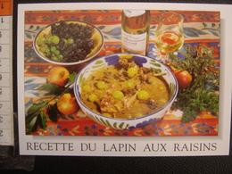 CP Carte Postale Postcard RECETTE CUISINE BOURGOGNE LAPIN AUX RAISINS - Küchenrezepte