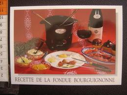 CP Carte Postale Postcard RECETTE CUISINE BOURGOGNE FONDUE BOURGUIGNONNE - Küchenrezepte