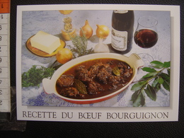 CP Carte Postale Postcard RECETTE CUISINE BOURGOGNE BOEUF BOURGUIGNON - Küchenrezepte
