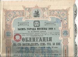 Emprunt De La Ville De Moscou De 1909 ,obligation De 500 Francs, Frais Fr 1.95 E - Shareholdings