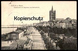 ALTE POSTKARTE CÖLN AM RHEIN FRANKENWERFT MIT STAPELHAUS UND MARTINSKIRCHE RHEINUFERBAHN Heimann Tram Köln Ansichtskarte - Koeln