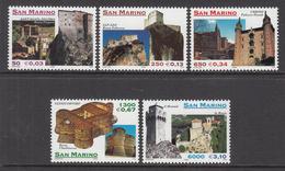 1999 San Marino  Architecture   Complete Set Of 5 MNH - San Marino