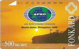 Philippines - PLDT (Tamura) - Sunset With APEC Logo - 500Units, 1996, Used - Philippines