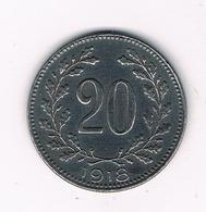 20 HELLER 1918 OOSTENRIJK /6212/ - Autriche