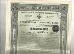Certificats D'état 4 1/2 % De La Banque Foncière Russe Des Paysans,2 E Série,  1912, 2 Scans , Frais Fr 1.95 E - Shareholdings