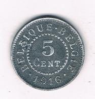 5 CENTIMES  1916 BELGIE 6213/ - 1909-1934: Albert I