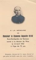 Généalogie-faire-part De Décés-carte-mortuaire : Le Chanoine Augustin RIOU : Curé-archiprétre De VERNOUX Ardèche - 1952 - Décès