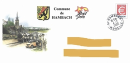 Enveloppe Illustrée Commune Hambach Noël Train Locomotive Lion Lowe Cachet Manuel Moselle - Postwaardestukken