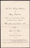 AL72 Mourning/Memoriam Card - Mary Elizabeth Lindley, 1935, Epworth, Misterton - Obituary Notices